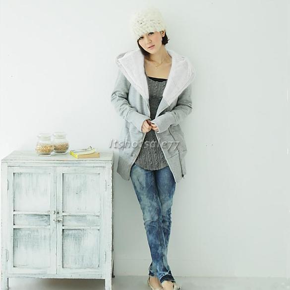 Fashion-Korea-Womens-Zip-Up-Long-Top-Hoodie-Coat-Jacket-Sweatshirt-Outerwear
