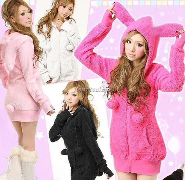 Cute-Women-Bunny-Ears-Warm-Sherpa-Hoodie-Jacket-Coat-tops-Outerwear