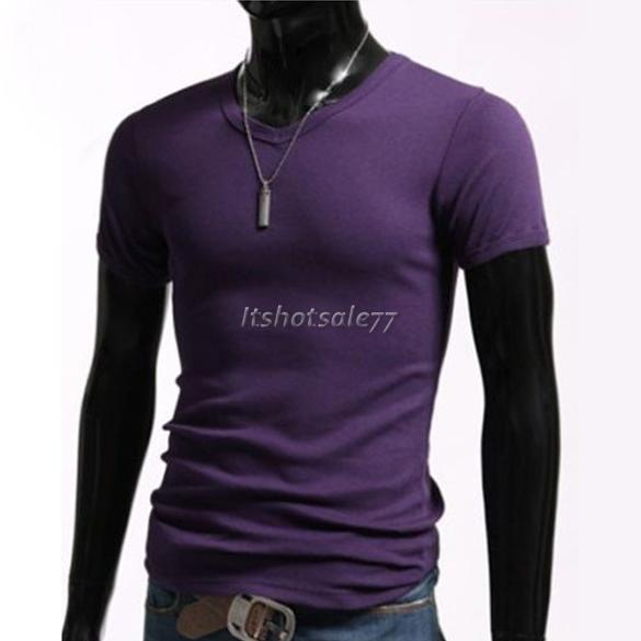 Mens-Stylish-Casual-V-Neck-Short-sleeve-Slim-T-shirt-Size-S-M-L-XL