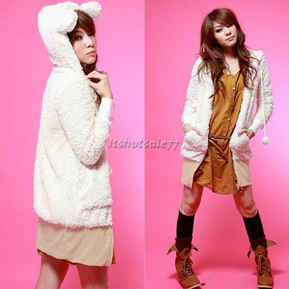 New-Women-kawaii-Go-2-Sweet-Teddy-Bear-Ear-Fleece-Hoodie-Top-Jacket-3-color