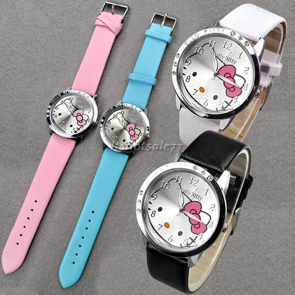 Fashion cute Lovely Kitty Crystal Girls Quartz Wrist Watch 4 Colors