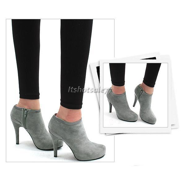 Womens-Sexy-Vogue-Ladies-Platform-Pump-High-Heel-Ankle-Boots-Shoes-Suede-ZIP
