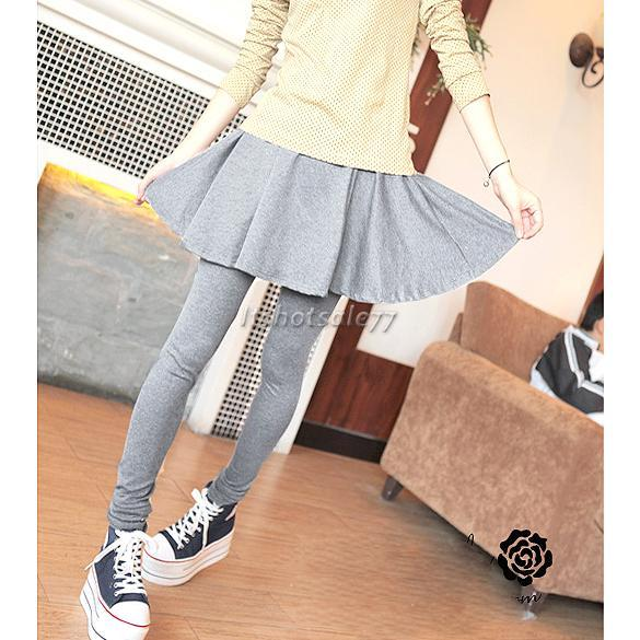 Fashion-Womens-Sweet-Lovely-Brief-Pleated-Skirt-and-Slim-Fit-Leggings-Cotton